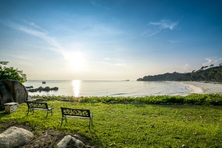 It's just a ferry ride away from Singapore.  Hop on a ferry at Singapore's Tanah Merah Ferry Terminal, and in less than an hour you'll be on Bintan Island – plus, Bintan is one hour behind Singapore, so it's like you haven't lost any time at all on the journey!