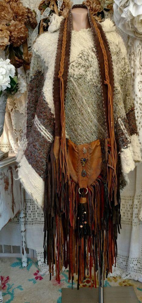 Handmade Brown Fringe Bag Faux & Real Leather Western Hippie Boho  Purse tmyers #Handmade #MessengerCrossBody