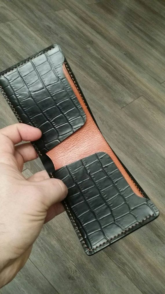 Check out this item in my Etsy shop https://www.etsy.com/listing/505975397/bifold-leather-wallet-crocodile-embossed