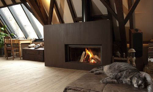 contemporary fireplace (wood-burning closed hearth , retractable door) 21 Stûv