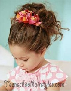Cute little girl scrunched hair style that my bigger girls would love with their shorter style