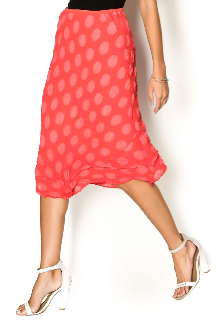 Strawberry polka dot printed skirt with an uneven hem line. This skirt is machine washable. Style this printed skirt with an off the should blouse for a feminine and flirty look.   Water Skirt by BABETTE. Clothing - Skirts - Statement Clothing - Skirts - Knee Eastern Shore, Baltimore, Maryland