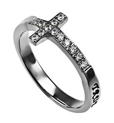 "Sideway Cross ""True Love Waits"" Christian Purity Ring for Girls, 1 Timothy 4:12"