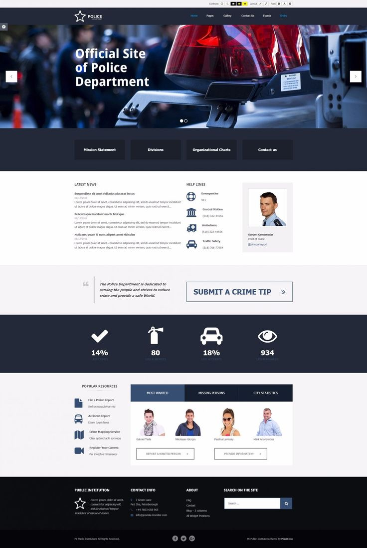 Accessible WordPress theme designed with public institutions in mind.  PE Public Institutions - Police department example. #WCAG #Section508 #accessibility #WordPress #theme https://www.pixelemu.com/wordpress-themes/i/236-public-institutions