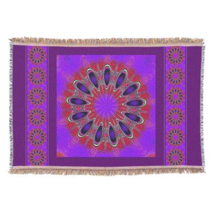 Violet Purple & Cherry Red Modern Mandala Throw Blanket - pattern sample design template diy cyo customize