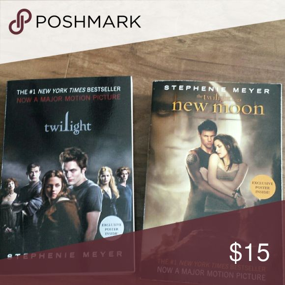 Twilight and new moon books. Twilight and new moon books. Posters still in book. They are in excellent condition. Smoke free home. Accessories