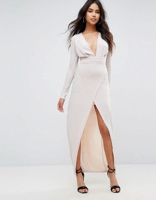 Compra Vestido largo con escote pronunciado y abertura delantera de Boohoo  en ASOS. Descubre la moda online. b18acac6d6f