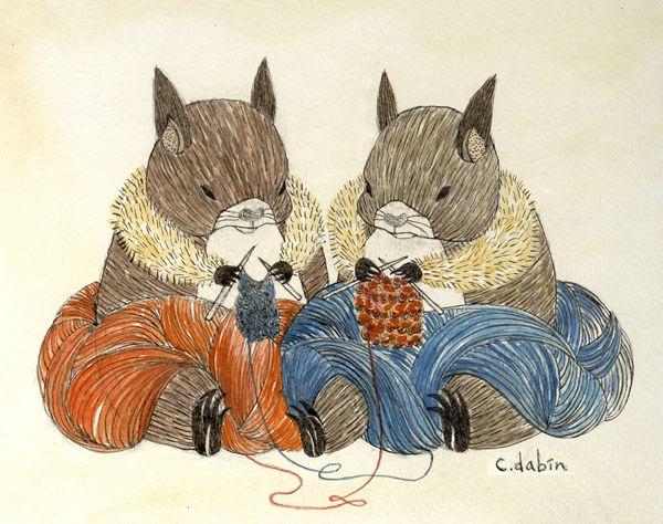 The Knitting Squirrels by Dabin Choi, via Behance