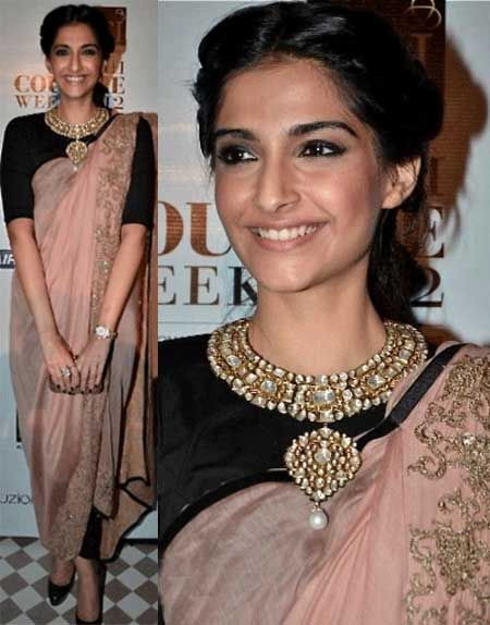 Sonam Kapoor in Anamika Khanna sari gown