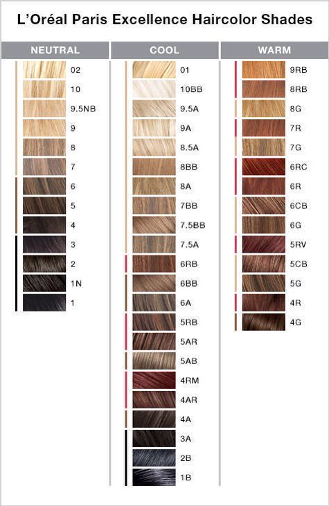 L'Oreal Paris Excellence Color chart