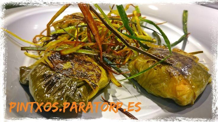 Tortellinis de hoja de puerro rellenos de pisto  #pintxos #tapas #recetas #foodies #foodporn #fototapa