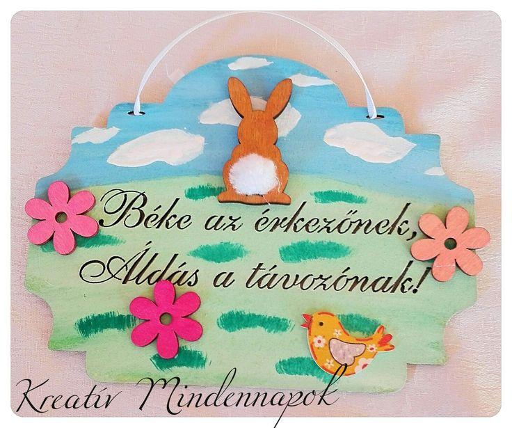 Húsvéti ajtótábla festett alapon