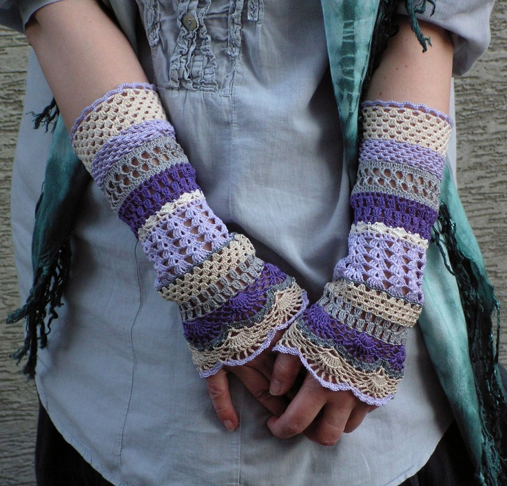 Total Colorization: Lilac Tones - crocheted open work lacy romantic wrist warmers cuffs hippie boho style. $35.00, via Etsy.