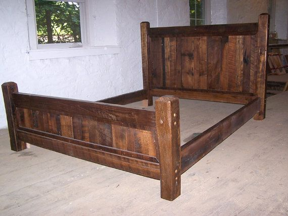 Queen Size Rustic Bed Frame Made with Beveled Posts