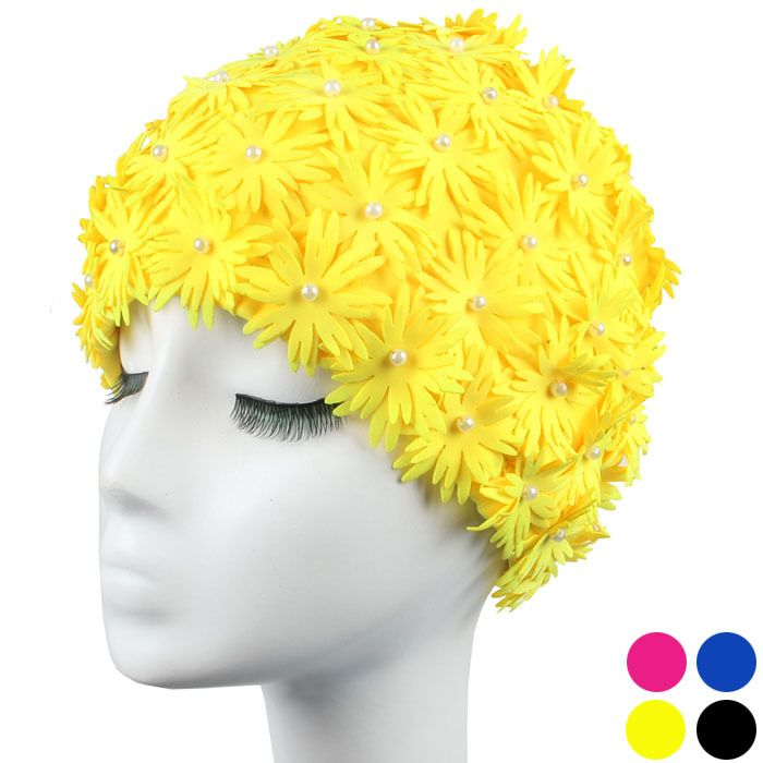 Bathing cap, stereo double petal flowers long hair spring swimming cap head no 3121 Ms.