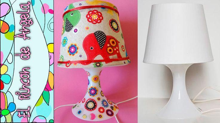 DIY Como forrar una lampara con tela  Decoupage con tela sobre una lampa...