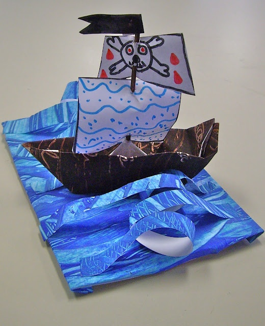 Four different art ideas:  ship sculpture in water ... line drawings of treasure chests ... pirate puppets ... clay sculpture of treasure chests