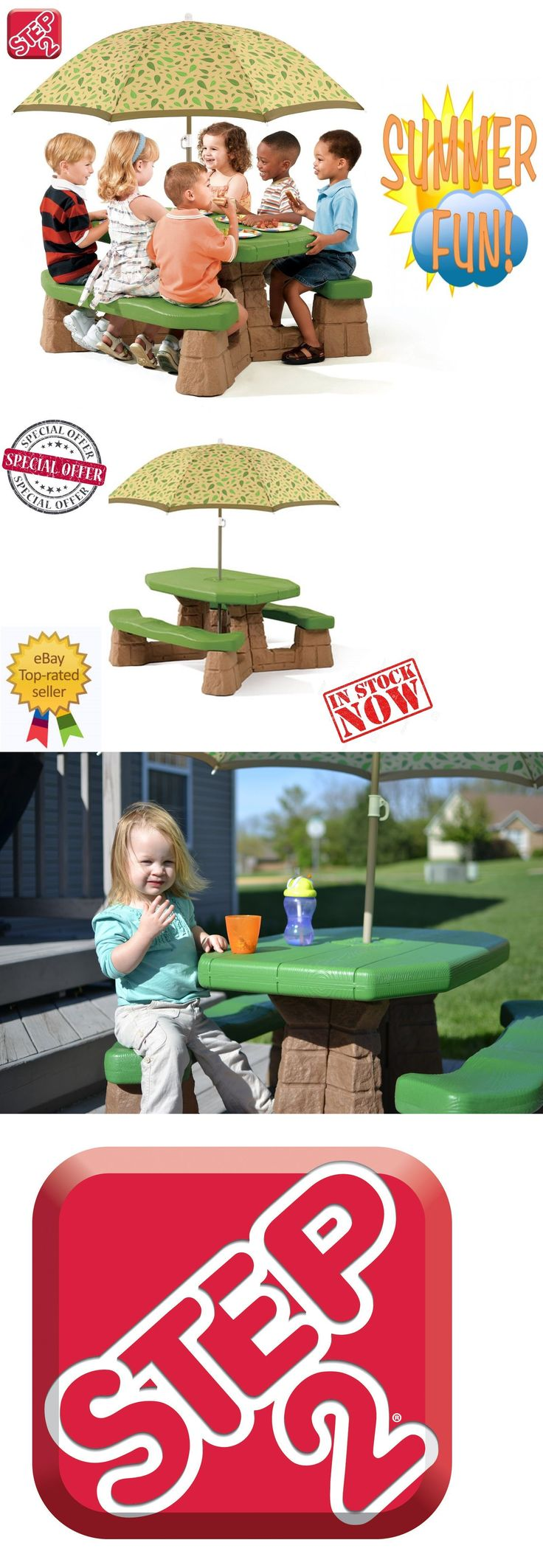 Step 2 52344: Step2 Naturally Playful Picnic Table With Umbrella For Kids Lawn Summer Shade -> BUY IT NOW ONLY: $99.99 on eBay!