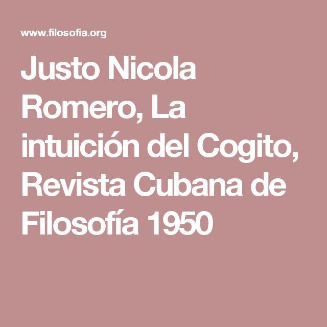 Justo Nicola Romero, La intuición del Cogito, Revista Cubana de Filosofía 1950