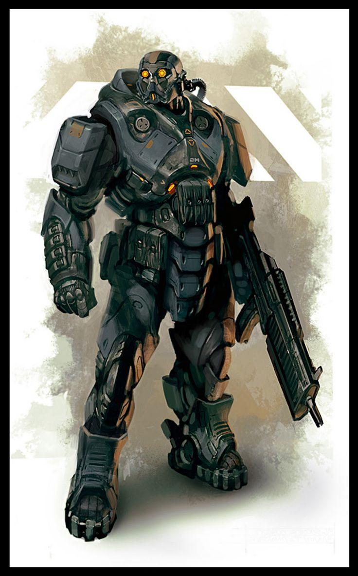 heavy soldier bio hazard gears of war unreal tournament suit daryl mandryk concept soldier armor mech mecha laser blaster gun cannon warrior space sci fi.jpg (996×1600)