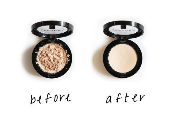 Réparation :  Votre fard est brisé? Pas de soucis! Versez une goutte ou deux d'alcool à friction et mélangez doucement pour que la poudre forme une pâte épaisse. Pressez ensuite le produit fermement pendant environ 30 secondes à l'aide d'un outil donc le diamètre est correspondant. Afin de ne pas contaminer votre maquillage, prenez soin d'envelopper l'outil que vous utiliserez avec un papier mouchoir propre. Laissez sécher complètement et vous aurez un fard presque neuf!