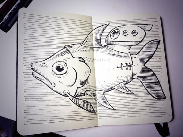 "@motulz's sketch ""the submarine fish"""