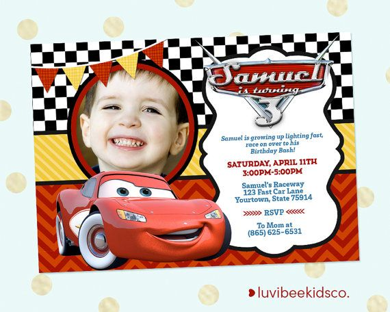 Cars Lightning McQueen Party Invitation Photo by LuvibeeKidsCo