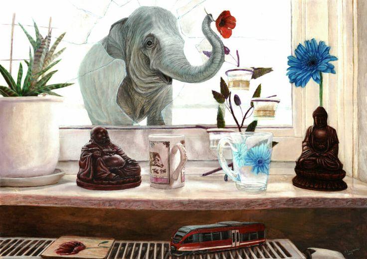 Guest | 50 x 70 cm | Acrylic Paint, Oil Pastels and Watercolour Pencils On Hardboard | ® Krzysztof Polaczenko 2015