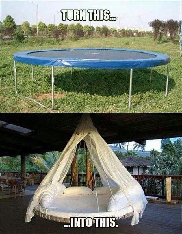 ♡Make a trampoline into a comfy hammock ♡