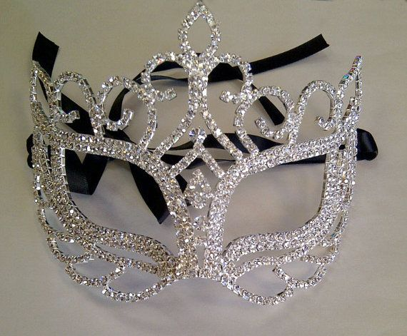Rhinestone Crystal Masquerade Mask with Silver by BingCheri, $75.00