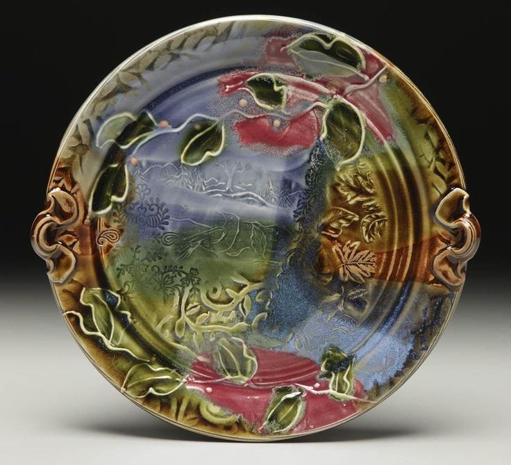Handmade Ceramic Platter In Coastal Kitchen: Crow Platter By Laurey-Faye Long