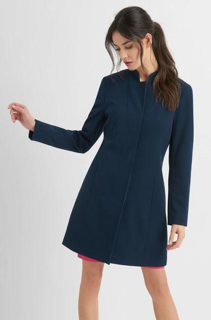 Kabát na gombíky kopírujúci postavu - Modrá  315564acb59