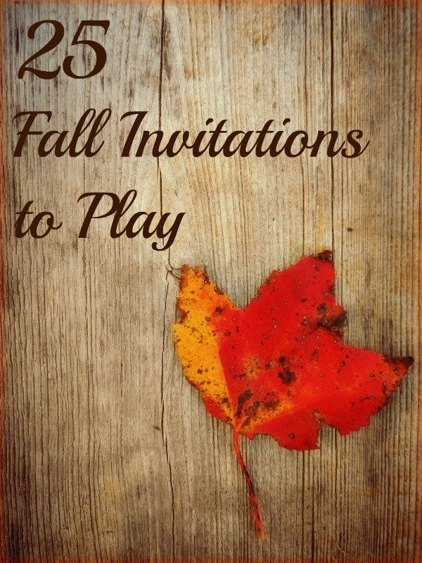 25 Fall Invitations to Play Series. Inspiration for open-ended play from 5 kid bloggers. There is something for everyone in this post: playdough, fine motor, outdoor play, group activities, sensory explorations, art, etc. etc.