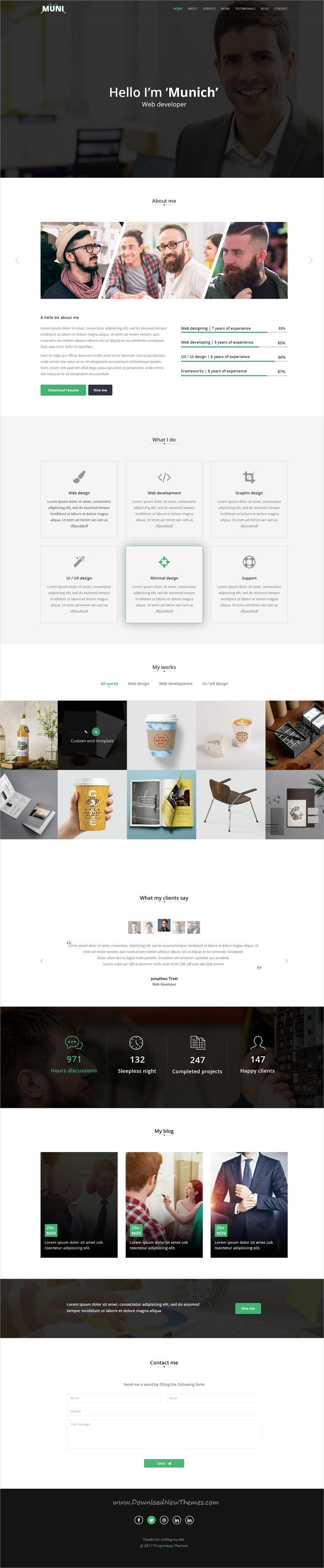 Muni is clean and modern design #PSD template for onepage creative #resume and #portfolio showcase website download now..