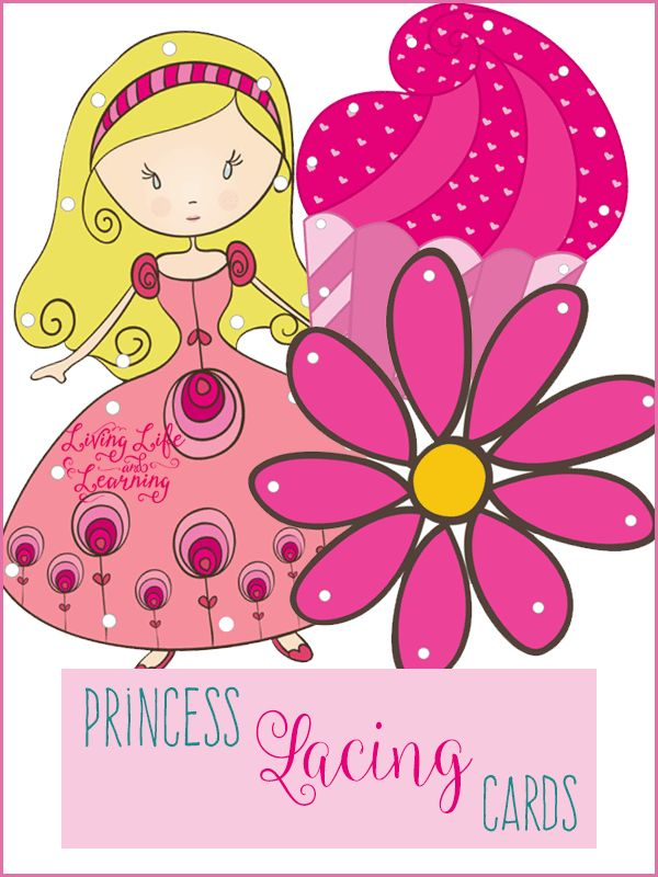Practice your fine motor skills with these adorable Princess lacing cards activity