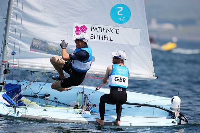 Luke Patience and Stuar Bithel of Team GB celebrate winning the silver medal in the Men's 470 Sailing.  Such a photogenic sport!  Best Of London: Day 14 - Slideshows | NBC Olympics