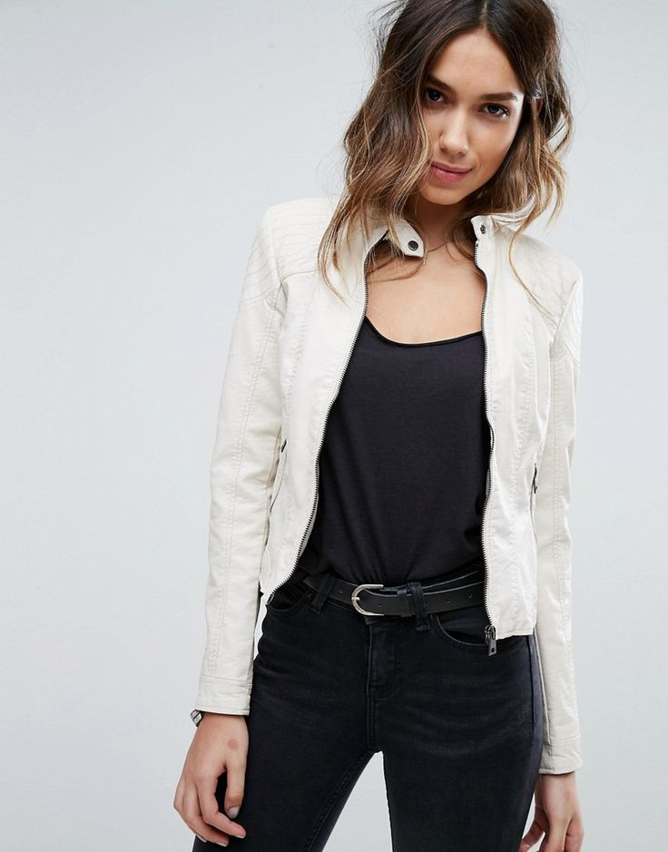 Buy it now. Vero Moda Faux Leather Jacket - White. Biker jacket by Vero Moda, Soft-touch faux leather, Midweight design, Silky-feel lining, Press-stud collar, Zip fastening, Regular fit - true to size, Machine wash, 67% Polyurethane, 33% Polyester, Our model wears a UK S/EU S/US S and is 176cm/5'9.5 tall. ABOUT VERO MODA Danish fashion house, Vero Moda, made their mark on the fashion scene by using top models Kate Moss and Gisele Bundchen in their marketing campaigns. With emphasis on…