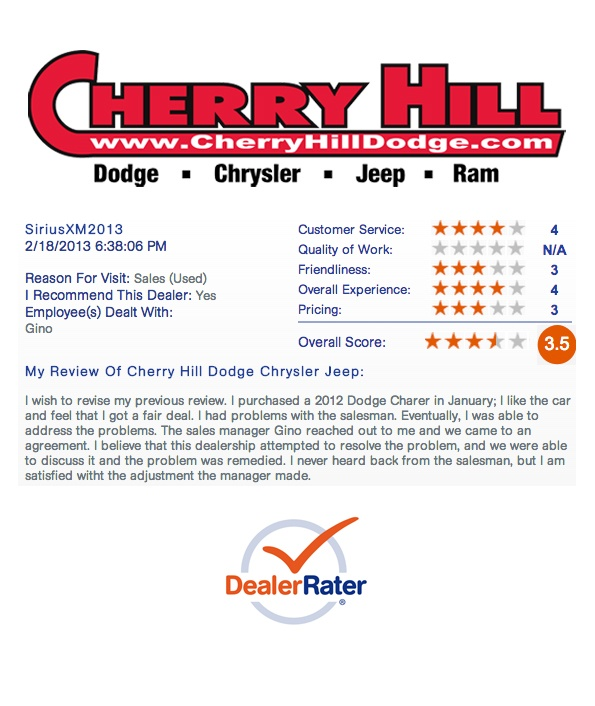 """February 18, 2013: Hey Philadelphia - when considering your next car purchase, WHERE you go matters just as much as what you buy. Here's another review from one of our satisfied customers who recently purchased a Dodge Charger! ----- """"The sales manager Gino reached out to me and we came to an agreement"""""""