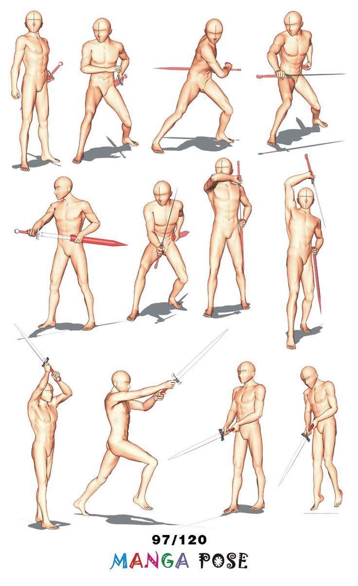 Tutorial Drawing Manga pose. Big posebook for manga anime character   : Sword poses