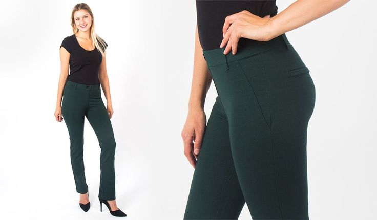 Athleisure Dress Yoga Pants Dress Pants [Emerald-Twill Straight-Leg]