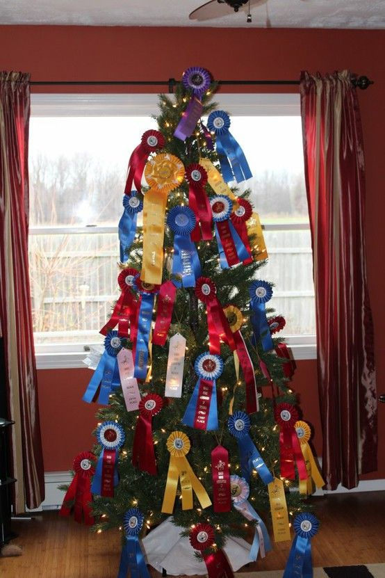 Horse show ribbon Christmas tree! Would be super cute at the barn after a show season!