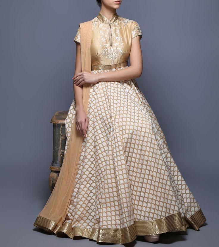 Beige Appliqued Brocade & Net Anarkali Suit