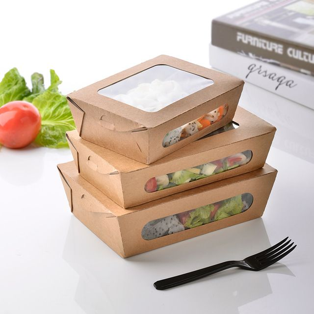 3 size Kraft Paper Salad Box Disposable Water Proof Takeaway Lunch Fruit Box Camping Supplies Dinnerware 100pcs/lot SK724