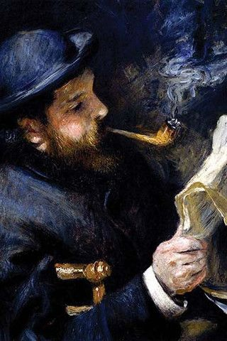 Claude Monet Reading A Newspaper by Pierre- Auguste Renoir