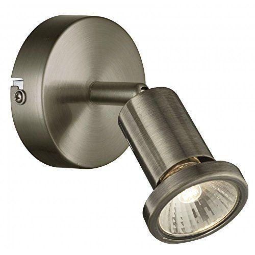 Modern 1 Light Single Wall / Ceiling Spotlight in Antique Brass with 1 x 50 watt Halogen Lamps