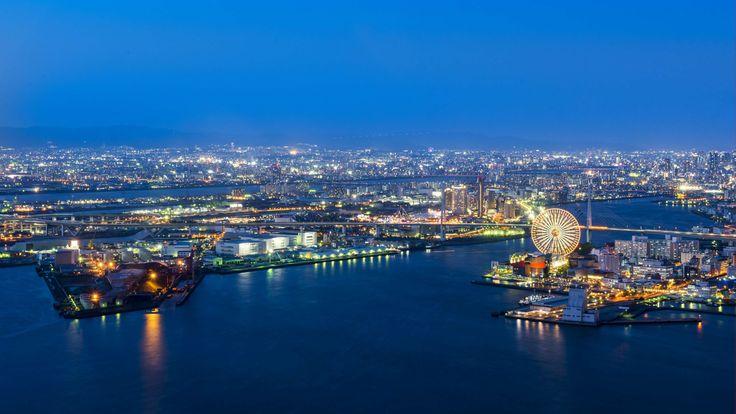 #aerial #architecture #bay #blue #bridge #buildings #city #cityscape #coast #dock #dusk #evening #ferris wheel #harbor #harbour #industrial #landscape #lights #marina #metropolis #modern #night #pier #port #reflection #ri