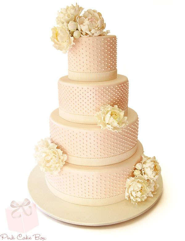 Swiss Dot and Peony Wedding Cake » Spring Wedding Cakes