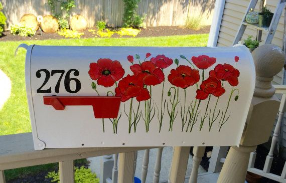 Hand painted mailbox with red poppies by DaisyCustomPainting
