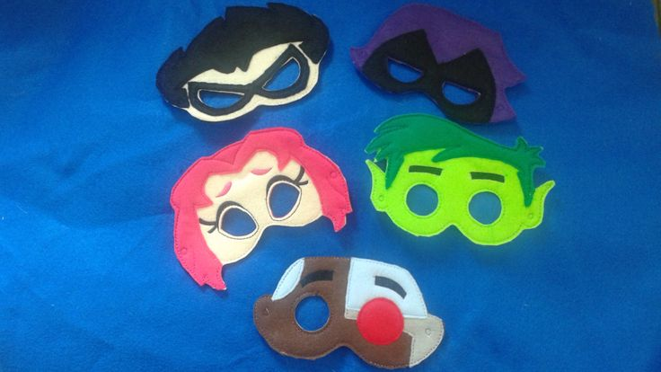 Teen Titans Go Inspired Felt Masks..  Great for Birthday Parties, Dress Up, Costume Party, Halloween by lindaskraftykreation on Etsy