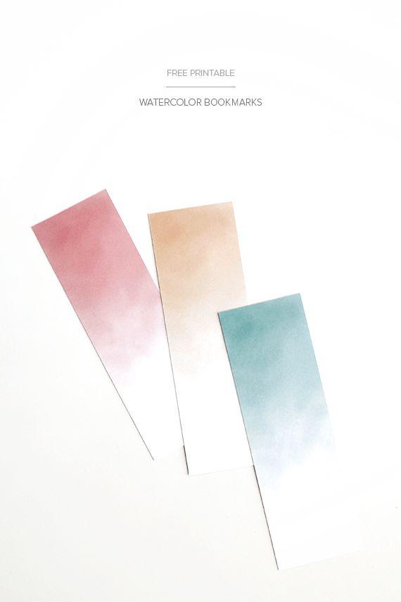 printable watercolor bookmarks